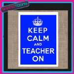 KEEP CALM AND TEACHER ON JUTE  SHOPPING GIFT BAG 003